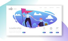 Website Development Landing Page Template. Mobile Application Layout with Flat Businessman Leader on the Top with Flag