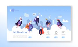 Website Development Landing Page Template. Mobile Application Layout with Flat Flying Business Heroes Man and Woman