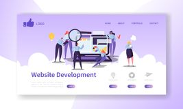 Website Development Landing Page Template. Mobile Application Layout with Flat People Characters and Laptop Easy to Edit royalty free illustration