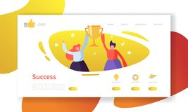 Website Development Landing Page Template. Mobile Application Layout with Flat People with Golden Prize Business Success. Website Development Landing Page vector illustration