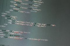 Website development - programming code on computer screen Stock Image