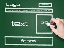Website development project on blackboard. Hand draw website development project on blackboard Royalty Free Stock Photo