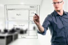 Website development wireframe. Man drawing website development wireframe Royalty Free Stock Photos