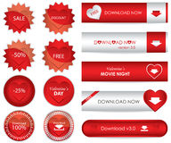 Website download buttons. Special website download buttons for Valentine's day Royalty Free Stock Image