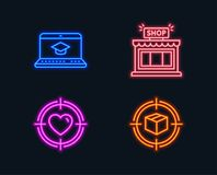 Website education, Shop and Valentine target icons. Parcel tracking sign. Video learning, Store, Heart in aim. Neon lights. Set of Website education, Shop and Royalty Free Stock Image