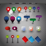 Website elements and gps icons. Collection Of Colorful Tags, GPS icons and Other Website Elements Royalty Free Stock Photo