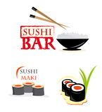 Website elements with sushi. Website elements/ logo design with sushi food against white background Stock Images
