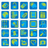 Website en Internet-pictogrammen in vlakke stijl Royalty-vrije Stock Foto