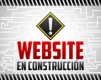 Website Engelse construccion - Website in aanbouw Spaanse tekst Stock Afbeelding