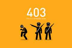 Website Error 403. Forbidden. Vector artwork depicts a funny and humorous scenario with human stick figure for website http request error Royalty Free Stock Image