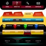 website för 3 navigeringmallar Arkivfoton
