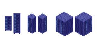 Website för baner för mall för serverdatorhallsamling infographic eller broschyrtryck för informationsstatistiken - vektor stock illustrationer