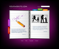 website för dagbokmallvektor arkivfoton