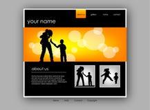 website för familjmallvektor Royaltyfria Bilder