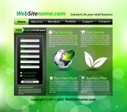 website för grön mall för eco themed Arkivfoto
