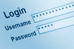 website för skärm för manöverenhetsinloggningsmakro säker royaltyfri bild