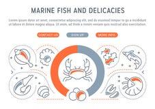 Website-Fahne und Landungs-Seite von Marine Fish und von Zartheit vektor abbildung