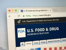 Website of the FDA, The Food and Drug Administration. Amsterdam, The Netherlands - May 9, 2018: Official homepage of the FDA, The Food and Drug Administration royalty free stock images