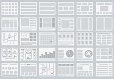 Website Flowcharts, layouts of tabs, infographics, maps. Illustration Royalty Free Stock Images