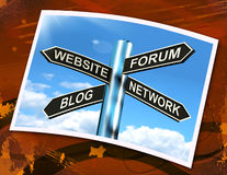 Website Forum Blog Network Sign Shows Internet Royalty Free Stock Photo