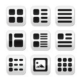 Website gallery view Display options buttons set Royalty Free Stock Photo