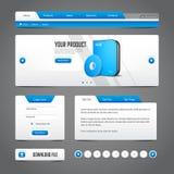 Website-Gestaltungselemente Grey Blue Gray auf dunklem Hintergrund: Knöpfe, Form, Schieber, Rolle, Karussell, Ikonen, Menü, Navig stock abbildung