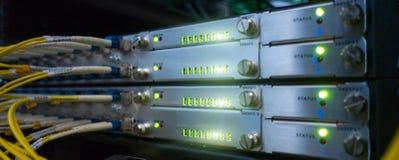 Website header background. Telecommunication Broadband Fiber Optical Cables. Datacenter rack. Technology concept. Website header background. Telecommunication royalty free stock photography
