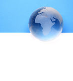 Website header / banner. Globe for web site headers. blue stock photos
