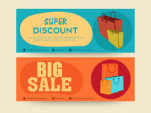 Website header or banner of Big Sale with discount offer.. Royalty Free Stock Images