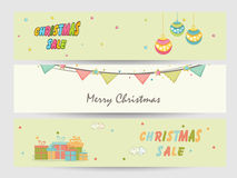 Website header or banner design for Christmas sale. Stock Photos