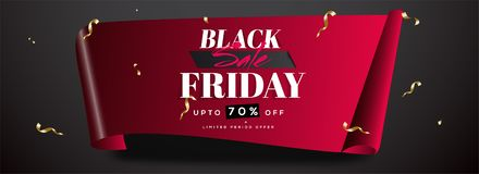 Website header or banner design in curl paper style with 70% dis. Count offer for Black Friday Sale stock illustration