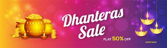 Website header or banner design for Dhanteras sale with 50% disc. Ount offer, coin pot, hanging paper oil lamps on shiny blurred background vector illustration