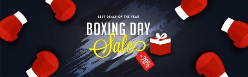 Website header or banner design, 70% discount offer with boxing. Gloves on grunge black background for Boxing Day sale vector illustration