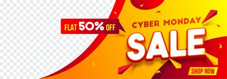 Website header or banner design with 50% discount offer for Cybe. R Monday Sale. Advertising banner with space for your product image royalty free illustration