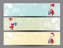 Website header or banner design for Merry Christmas celebration with. Merry Christmas celebration banner or website header design with cute Santa and animals Stock Image