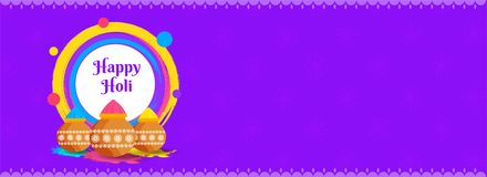 Website header or banner design with mud pot full of dry colours on purple background. Website header or banner design with mud pot full of dry colours on royalty free illustration