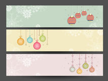 Website header or banner design with space for your text. Beautiful website header or banner set decorated with hanging Xmas Balls for Merry Christmas and Happy Stock Photos