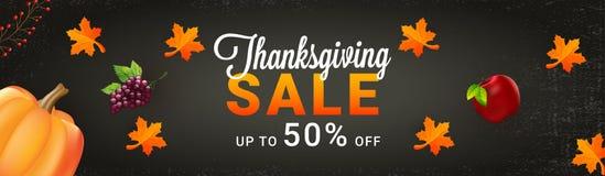 Website header or banner design, Upto 50% offer sale for Thanksg. Iving celebration concept with illustration of grapes, apple pumpkin and maple leaves on grey royalty free illustration