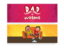 Website header or banner for Fathers Day. Beautiful website header or banner set with stylish text and illustration of father and son for Happy Fathers Day Royalty Free Stock Photos