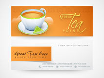 Website header or banner for fresh tea. Fresh Tea website header or banner set for tea shop, cafe and restaurant Stock Photos