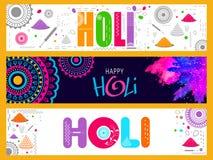 Website header or banner for Holi celebration. Stock Photography