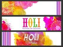 Website header or banner for Holi celebration. Royalty Free Stock Images