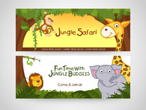 Website header or banner of jungle safari. Jungle safari banner or website header with wild animal Royalty Free Stock Photos