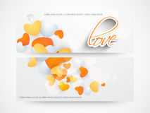 Website header or banner of love. Love website header or banner set decorated with hearts Stock Photo