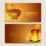 Website header or banner for Ramadan Kareem celebration. Beautiful website header or banner set decorated with dates and illuminated Arabic lantern for holy