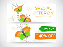 Website header or banner of sale for Indian Republic Day. Stock Photography