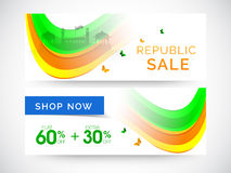 Website header or banner of sale for Indian Republic Day. Royalty Free Stock Photo
