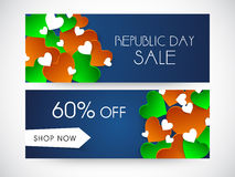 Website header or banner of sale for Indian Republic Day. Stock Photo