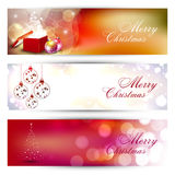 Website header or banner set. With decorative Xmas balls, gifts box and snowflakes. EPS 10 Stock Photo