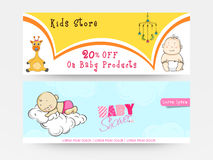 Website header or banner set for Baby Shower. Website header or banner set for Baby Shower celebration with sale offer for kids store Stock Photos